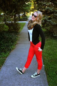 Mint red pants & black sweater