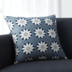 Ivory daisy-like flowers bloom in a garden-inspired grid in a fresh design by Neisha Crosland that's screenprinted on silk for subtle sheen and texture. Pillow reverses to solid blue cotton crepe and looks great paired with our Chloe pillow. Our decorative pillows include your choice of a plush feather-down or lofty down-alternative insert at no extra cost.<br /><br /><NEWTAG/><ul><li>Designed by Neisha Crosland</li><li>100% silk with 100% cotton back</li><li>Knife-edge…