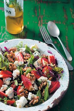 Strawberry, baby herb, walnut and blue cheese salad is a great side dish for lunch or dinner, and tastes as lovely as it looks.