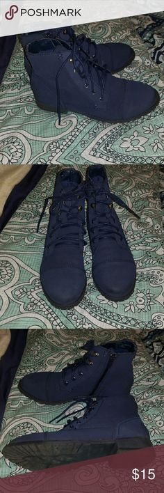 nwot Cute lace-up ankle boots Love these with skinny jeans and a cute top or flannel. Fall appropriate! Bought last year at DSW, great quality.  Like new! More of a navy but the flash shows up kind of brighter blue for some reason. Madden Girl Shoes Ankle Boots & Booties
