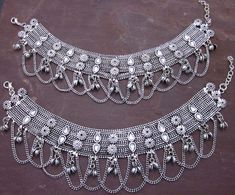 Anklets Silver Plated Hand Soldered Jewelry on Copper Stylish Jewelry, I Love Jewelry, Tribal Jewelry, Fashion Jewelry, Style Fashion, Copper Jewelry, Silver Jewellery, Hair Jewelry, Antique Jewelry