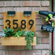 How to Make DIY Modern House Number Sign Using Hot Glue We partnered with Surebonder, a family owned and operate Diy Signs, Home Signs, Woodworking Projects, Diy Projects, Woodworking Books, Youtube Woodworking, Woodworking Equipment, Woodworking Classes, House Address Sign