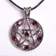 Purple Pentacle Pentagram Necklace Gothic Wicca Jewelry ($8.95) ❤ liked on Polyvore featuring jewelry