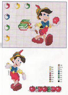 Pinocchio con mele e abecedario libri - magiedifilo.it punto croce uncinetto schemi gratis hobby creativi