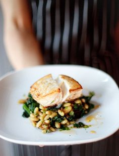 ●seared halibut, flageolet beans w/4 hour sofrito, garlic confit & kale