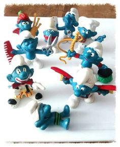 9 smurfs 1970s but took out of packet this week great cake topper or toys .Check out this item in my Etsy shop https://www.etsy.com/listing/235831003/wow-what-a-cake-these-would-make-cake