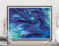 Bring a passionate vibe to your bedroom! Blue abstract decor print by FraBor Art.