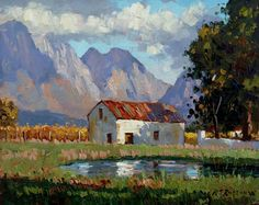 Roelof Rossouw Landscape Art, Landscape Paintings, African Paintings, South African Artists, House Painting, Beautiful Landscapes, Amazing Art, Cool Art, Contemporary Art