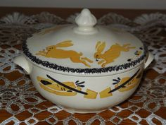 ANTIQUE French China miniature TUREEN BUNNY RABBIT CREIL MONTEREAU Dinette 1910 #CREIL