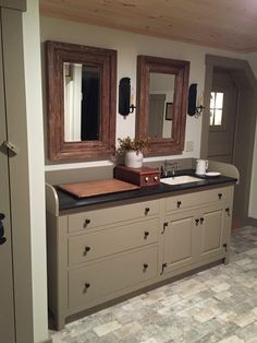 Mirrors, colors, cabinet ...top.