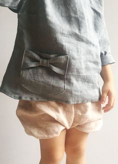 Sweet Handmade Linen Blouse With Bow Pocket Detail | TotsModa on Etsy