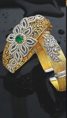Diamond Bangles latest jewelry designs - Page 4 of 19 - Indian Jewellery Designs Diamond Bracelets, Gold Bangles, Bangle Bracelets, Diamond Rings, Gold Earrings, Emerald Jewelry, Gold Jewelry, Antique Jewellery, Bridal Jewellery