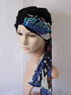 Elegant turban hat black turban full head covering bad hair