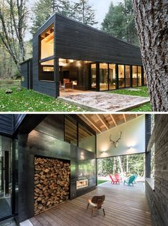 Robert Hutchison Architecture Design A Courtyard House On A River This modern house has a covered outdoor space that extends out into the backyard. A fireplace in the covered sections allows for entertaining in the cooler weather. Building A Container Home, Container House Plans, Storage Container Homes, Container Buildings, Container Architecture, Architecture Design, Landscape Architecture, Architecture Courtyard, Windows Architecture