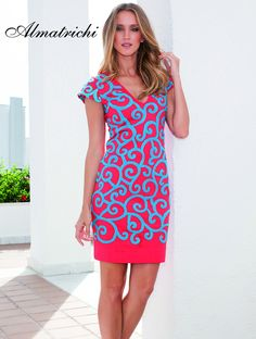 Vestido/dress YES Algodón Lycra/cotton lycra Bordado/embroidery Rojo-Azul/red-blue