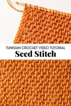 Seed Stitch Blanket, Crochet Seed Stitch, Tunisian Crochet Patterns, Basic Crochet Stitches, Single Crochet Stitch, Crochet Yarn, Crochet Hooks, Tunisian Crochet Blanket, Crochet Shawl