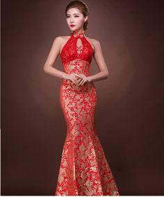 Halter koronka backless fishtail czerwony bez rękawów suknie bride tradycyjny chiński orientalne długi tradycyjne cheongsam dostosować