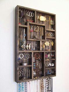 Turn a Plain Shadow Box Into a Stylish Jewelry Holder, jewelry organization idea Jewellery Storage, Jewelry Organization, Jewellery Display, Home Organization, Earring Storage, Earring Display, Storage Organizers, Hanging Organizer, Diy Jewellery