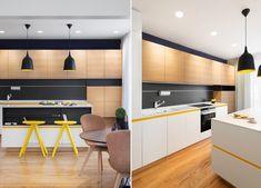 Il giallo illumina questo spazio molto elegante e moderno