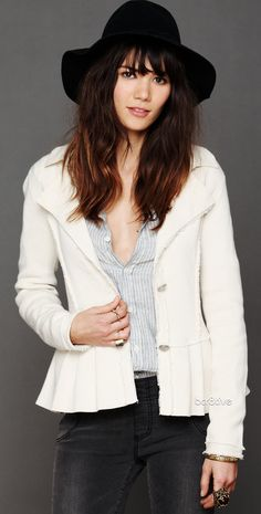 Free People Capital Peplum Jacket - The outfit eh, but the jacket is cute. I'd have paired it w/ light or painted jeans, more feminine top, & sans the hat.
