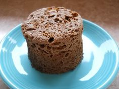Jorge Cruise's Chocolate Minute Muffin    1 Tablespoon ground flax  1 Tablespoon almond meal (ground almonds)  1 Tablespoon cocoa  ½ teaspoon baking powder  1 teaspoon stevia or truvia  1 egg  1 Tablespoon cream    Mix well in 18 oz mug and microwave for 1 minute.    A person could divide the batter into two mugs.