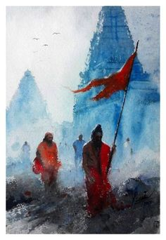 30 Traditional Indian Art Paintings on Canvas - Cartoon District Watercolor Water, Abstract Watercolor, Watercolor Paintings, Abstract Art, Watercolor Postcard, Simple Watercolor, Landscape Drawings, Cool Landscapes, Lord Shiva Painting