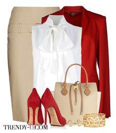 Beige pencil skirt, red blazer, white sleeveless top w/bow tie neck paired with red suede stilettos and beige handbag