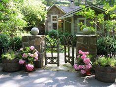 Highlands cottage wtih bark siding & gate