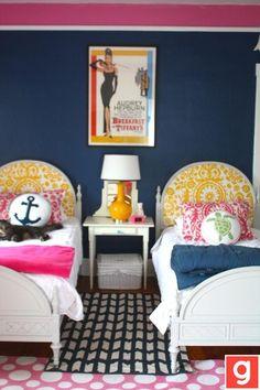 www. twineinteriors.com  Tips on layering rugs bedroom rugs, layering rugs in the bedroom, bright bedroom rugs