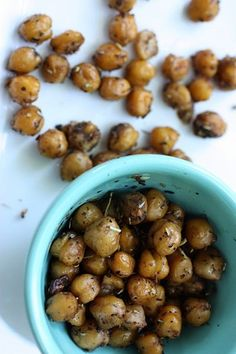 Snack: Balsamic Roasted Chickpeas {Easy, Fast, Cheap} - 25-30 minutes - great snack or sub for croutons on a salad. Also good for entertaining!