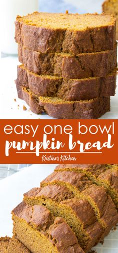 Pumpkin Bread Recipe This Easy Pumpkin Bread is generously spiced and incredibly moist with a soft and tender crumb. This recipe is an easy one bowl recipe, add chocolate chips if you want. The best healthy pumpkin bread recipe! Healthy Pumpkin Bread, Healthy Bread Recipes, Banana Bread Recipes, Healthy Baking, Baking Recipes, Vegan Pumpkin, Pumpkin Bread Recipes, Healthy Pumpkin Desserts, Easy Recipes