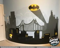 Custom Wall Decals and Murals for Home Decor by decalideas on Etsy Batman City, Gotham City, Batman Stickers, Wall Stickers, Childrens Room Decor, Boys Room Decor, Bedroom Boys, Custom Wall Decals, Traditional Wallpaper