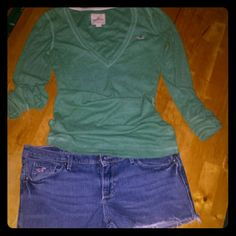 Hollister Shirt & Shorts BUNDLE Cute & casual!!!  Long sleeve, deep v-neck top, made of a thin thermal like material.  Frayed, cut off, jean shorts.  Top is a large, but is super fitted and would most prob look great on a small to med build depending on the fit desired.  Shorts are a size 7.  Smoke free home that has a Yorkie!!!  Xoxo Hollister Shorts Jean Shorts
