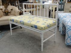 Palm Beach Faux Bamboo Bench. Would be cuter with a nicer fabric.