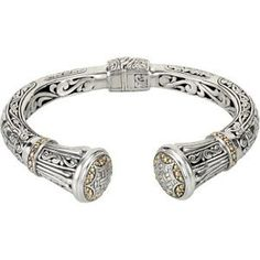 18k Yellow Gold and Sterling Silver Designer Vintage Artistic Design Cuff Bracelet Sydnie Collection. $329.00