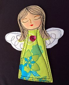 "Quilted Angel Ornament #1  Inspirational 7 1/2"" X 6"" quilted angel designed to spread joy and good wishes."