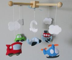 Baby Crib MobileCars Airplane Train and Boat by LincKids on Etsy
