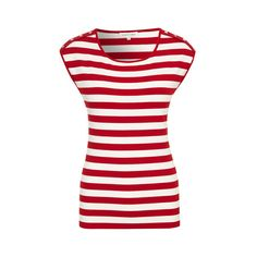Red Ivory Stripe Jersey Top ($21) ❤ liked on Polyvore