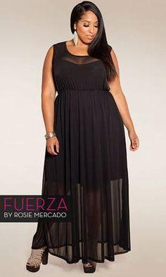 Sheer maxi dress plus size
