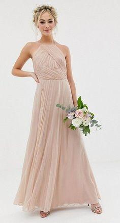 326a4cb8cfacf Affordable blush bridesmaid dresses ASOS DESIGN Bridesmaid pinny maxi dress  with ruched bodice. #affiliate