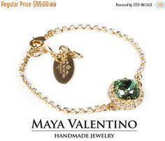 Swarovski bracelet 14K Gold Bracelet Mint Crystal by MayaValentino