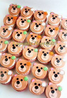 Buy online on Etsy! Cute teddy bear cupcake toppers perfect for a Teddy Bear birthday, a Build a Bear birthday party or a Paddington Bear themed party! Edible fondant cupcake toppers, hand-cut to form sweet little teddy bears, ready to go on your homemade cupcakes!