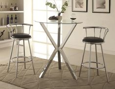 Coaster Bar Units and Bar Tables Kitchen Table  Round Pub Table with Glass Top and X-Shaped Chrome-Colored Base - Coaster Fine Furniture