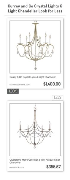 Currey & Co Crystal Lights 6 Light Chandelier vs Crystorama Metro Collection 5-light Antique Silver Chandelier