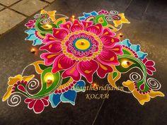 Free Hand Rangoli Design Ideas For Diwali image 18 Indian Rangoli Designs, Rangoli Designs Latest, Simple Rangoli Designs Images, Rangoli Designs Flower, Rangoli Patterns, Colorful Rangoli Designs, Rangoli Ideas, Flower Rangoli, Beautiful Rangoli Designs