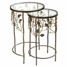 Berry Vines Nesting Table from Pier 1.  Possible alternative to the other nesting pair.  I think I prefer the other pair, unless I can paint the glass of these as blue/green...