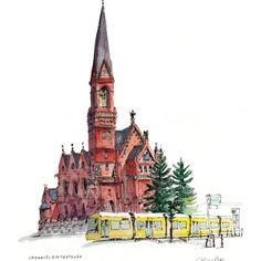 Chris Lee (@chrisleedrawing) в Instagram: «Very red and very yellow in #Berlin #drawing» #aquarell #art #painting #watercolor #watercolour #sketch #paint #drawing #sketching #sketchbook #travelbook #archisketcher #sketchaday #sketchwalker #sketchcollector #traveldiary #topcreator #usk #urbansketch #urbansketchers #скетчбук #скетч #скетчинг #pleinair #aquarelle #watercolorsketch #usk #architecture #painting #illustration