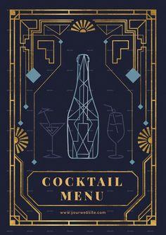 Motif Art Deco, Art Deco Pattern, Art Deco Design, Art Deco Font, Cocktails Bar, Cocktail Menu, Cocktail Glass, Geometric Diamond Wallpaper, Menu Bar