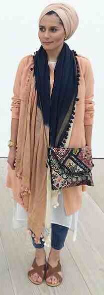 Knee length tunic & long cardi over black/white treggings. Accessorise with (tassel/blue) scarf & hat/turban.