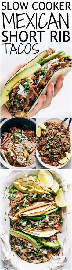 Slow Cooker Beef Short Ribs full of barbacoa flavours! Meat so tender it falls off the bone before being stuffed into Taco's and served with Avocado!